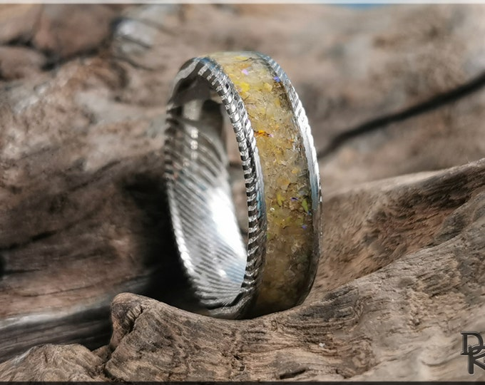 Genuine Damascus Steel Channel Ring w/Honey Topaz and Opal inlay