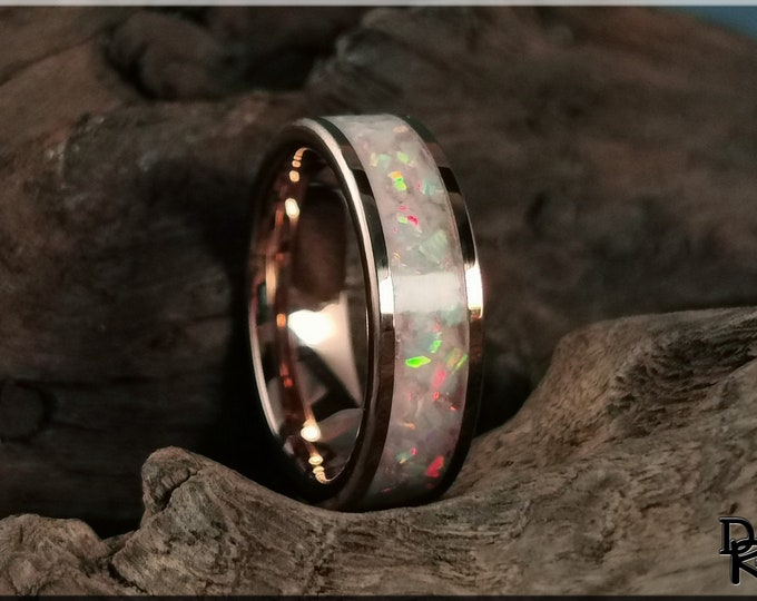Rose Gold Plated Tungsten Carbide Channel Ring w/Fire and Snow Opal and Light Pink Glow inlay