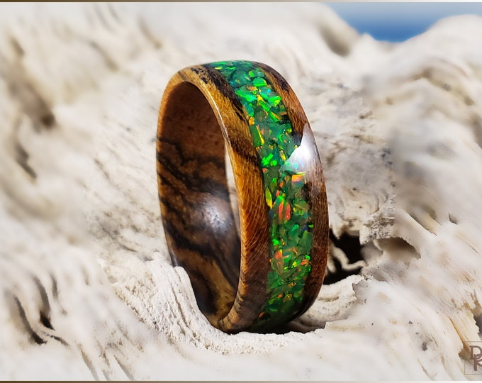 Bocote 8mm Wood Ring w/Olive Green Opal inlay