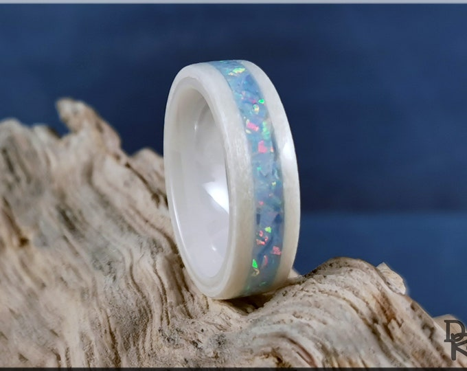 Bentwood Ring - Snow White Sycamore w/Cornflower Blue Opal inlay, on polished white ceramic ring core