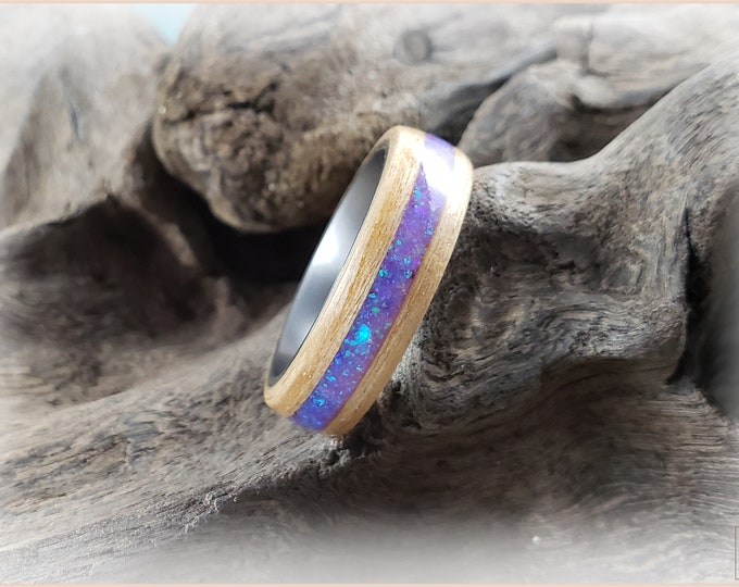 Bentwood Ring - Swiss Aspen w\Lavender Opal inlay, on titanium ring core