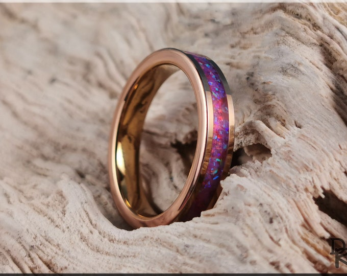 Rose Gold Plated Tungsten Carbide 4mm Channel Ring w/Opal inlay