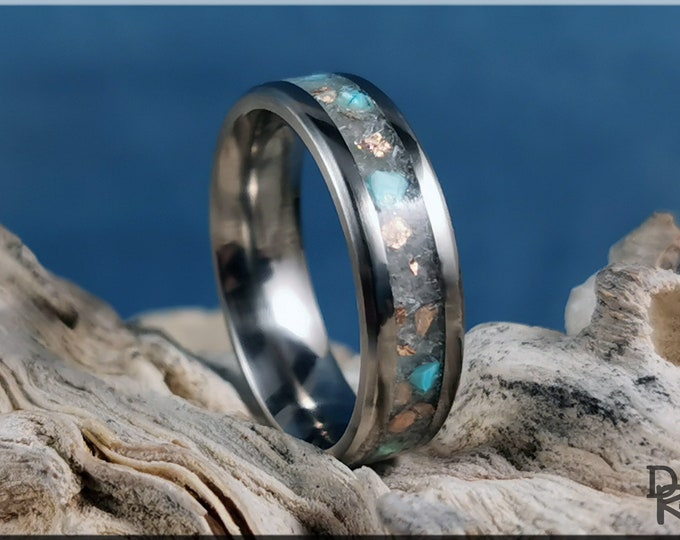 Titanium Channel Glow Ring w/Selenite, Copper, and Turquoise inlay