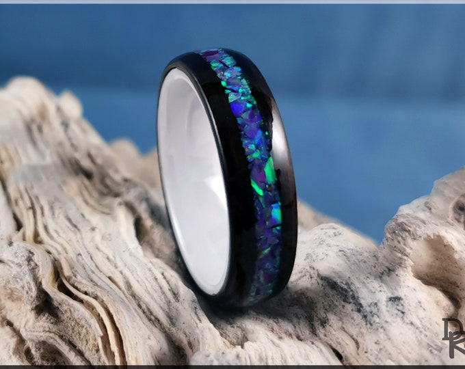 Bentwood Ring - Smoked Eucalyptus w/Magenta Opal inlay, on Polished White Ceramic ring core