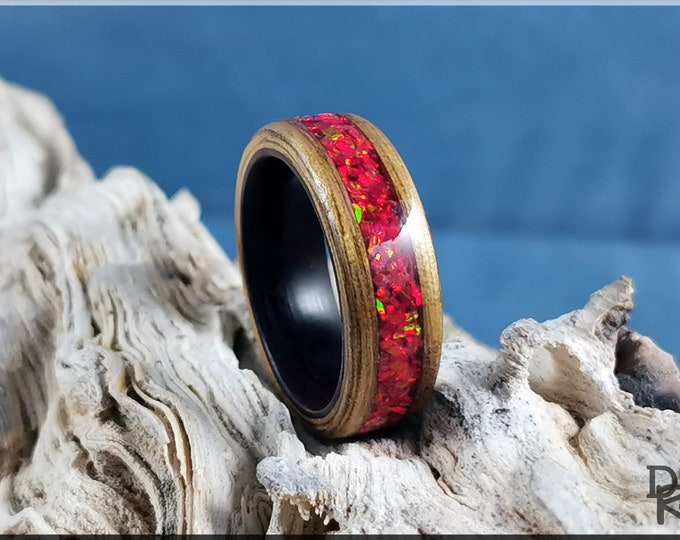 Bentwood Ring - Black Limba w/Ruby Fire Opal inlay, on Kingwood ring core
