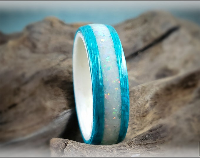 Dual Bentwood Ring - Ocean Blue Koto w/Opal Glow Mix inlay, on Bentwood Ice White Birdseye Maple ring core