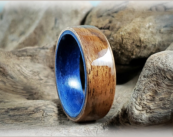 Dual Bentwood Ring - Rustic French Walnut on Midnight Blue Tulipwood bentwood ring core