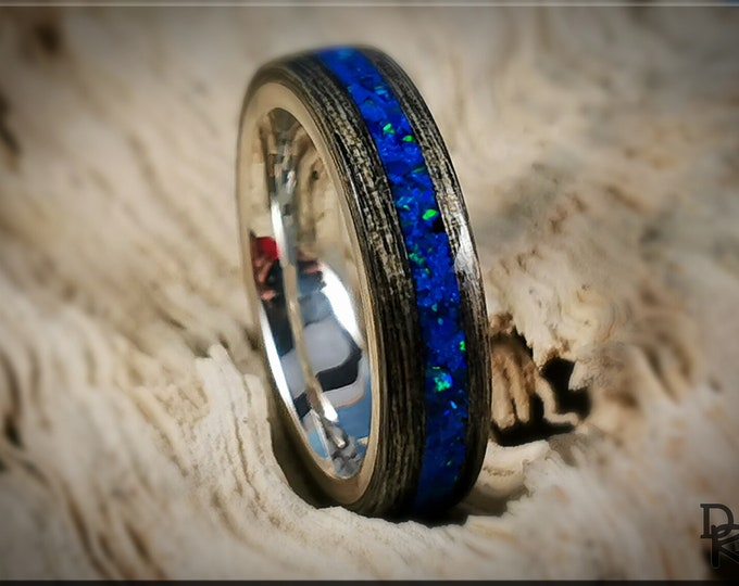 Bentwood Ring - Harborica w/Royal Blue Opal inlay, on premium .925 Sterling Silver ring core
