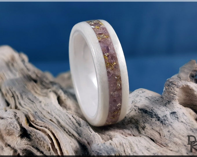 Bentwood Ring - Ice White Birdseye Maple w/Lavender Lepidolite and Gold Glass Inlay, on Polished White Ceramic core
