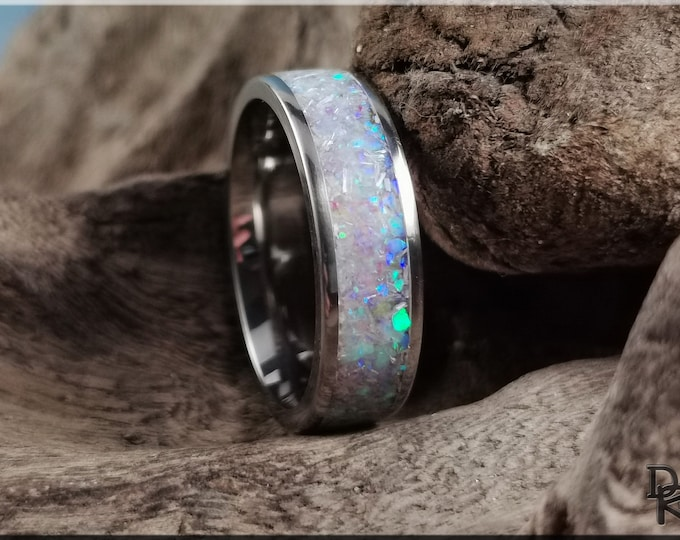 Titanium Channel Ring w/Selenite and Opal inlay