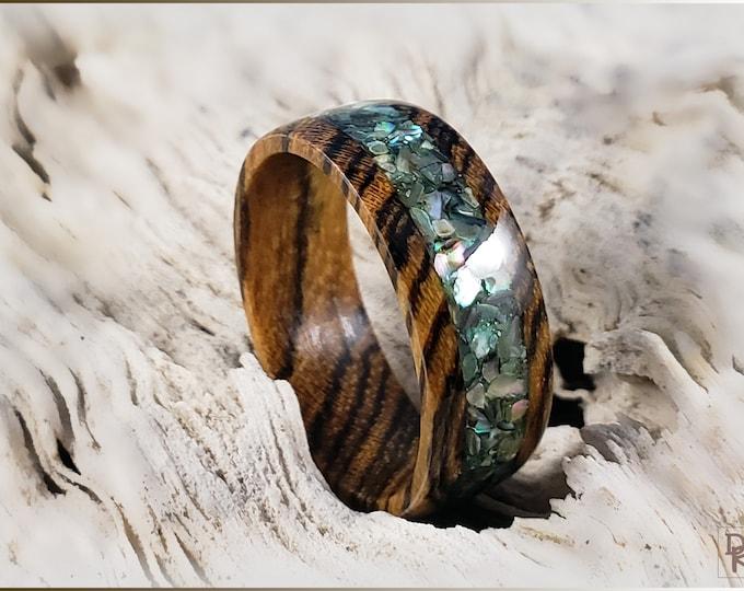 Bocote 8mm Wood Ring w/Abalone Shell inlay