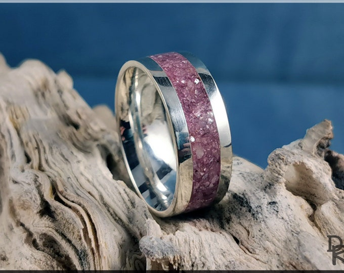 Premium .925 Sterling Silver 8mm Channel Ring w/Lavender Lepidolite stone inlay