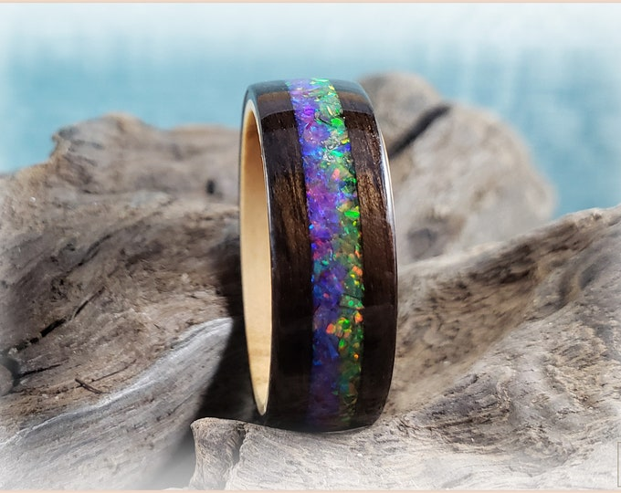 Bentwood Ring - Smoked Eucalyptus w/Dual Olive Green and Orchid Opal inlay, on Olivewood ring core