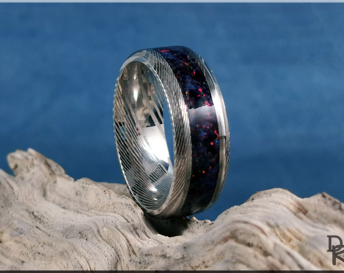 Genuine Damascus Steel Channel Ring w/Sapphire Black Fire Opal inlay