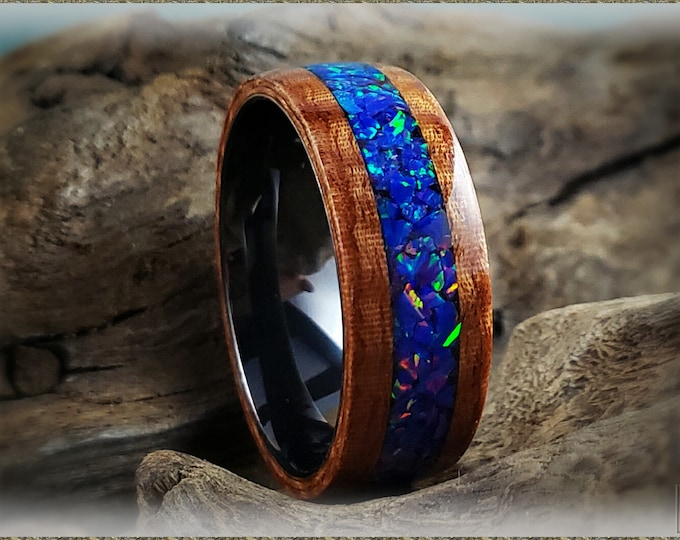 Bentwood Ring - Fiddleback Kotibe w/Starry Night opal inlay, on Polished Black Ceramic ring core
