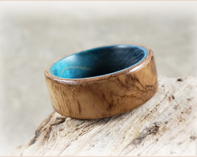 Bentwood Ring - Olive Ash Burl on Teal Blue Box Elder ring core - Wood Ring