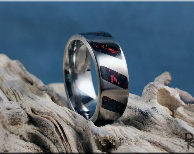 Titanium 'Rectangled' Pattern Ring w/Opal inlay - metal ring