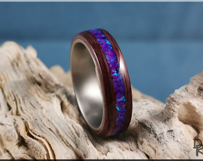 Bentwood Ring - Purpleheart w/Orchid opal inlay, titanium ring core.