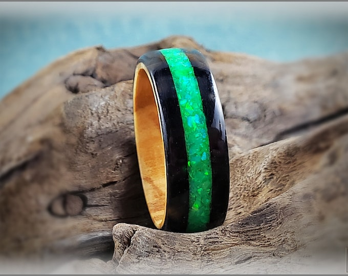Bentwood Ring - Jet Black Tulipwood w/Green Opal Glow mix inlay, on Olivewood ring core