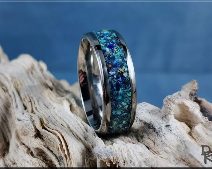 Titanium Channel Ring w/Azurite Stone inlay