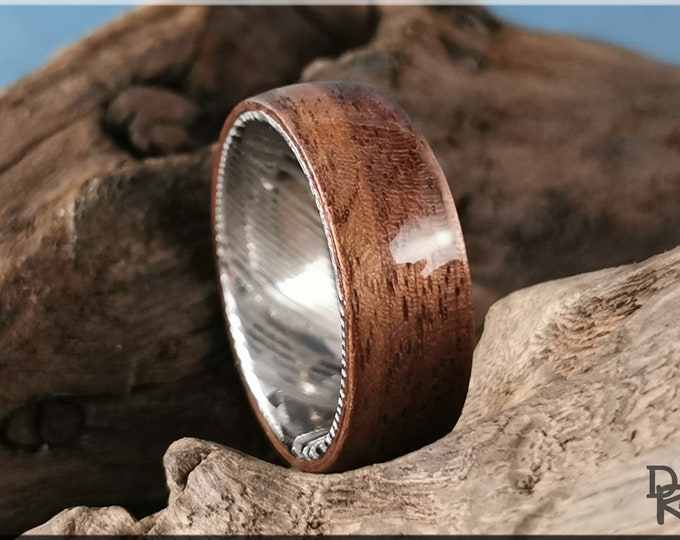 Bentwood Ring - Black Walnut on Genuine Damascus Steel ring core - Wood Ring