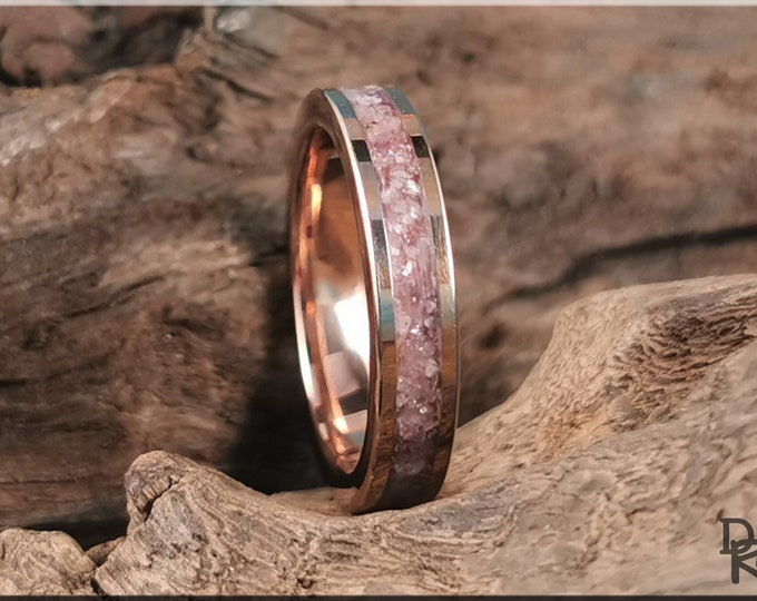 Rose Gold Plated Tungsten Carbide 4mm Channel Ring w/Lavender Lepidolite stone inlay