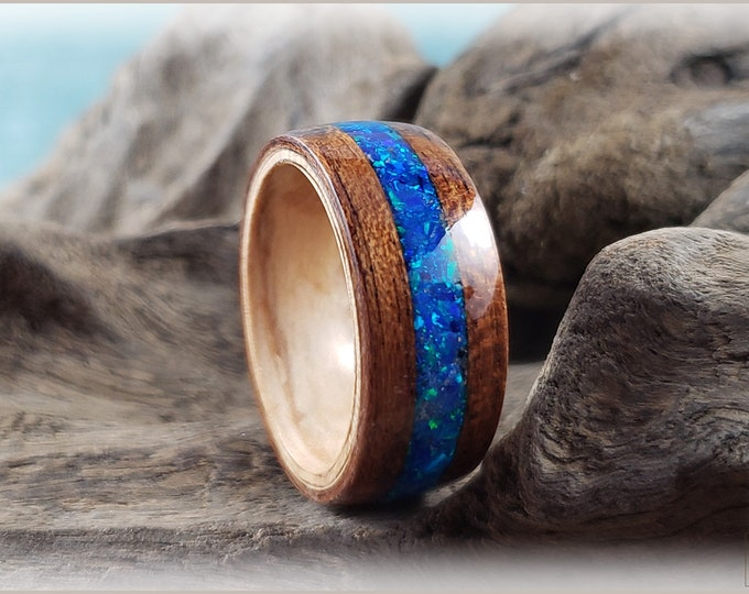 Dual Bentwood Ring - Bubinga w/Royal Blue Opal inlay, on bentwood Pomelle Maple ring core