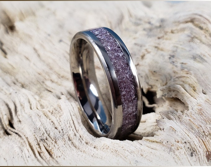 Titanium Channel Ring w/Lavender Lepidolite stone inlay