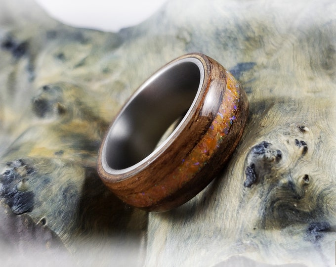 Bentwood Ring - French Walnut w/Amber opal inlay on titanium ring core