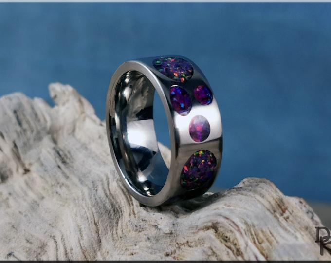 Titanium Circle Pattern Ring w/Dual Opal inlay - metal ring