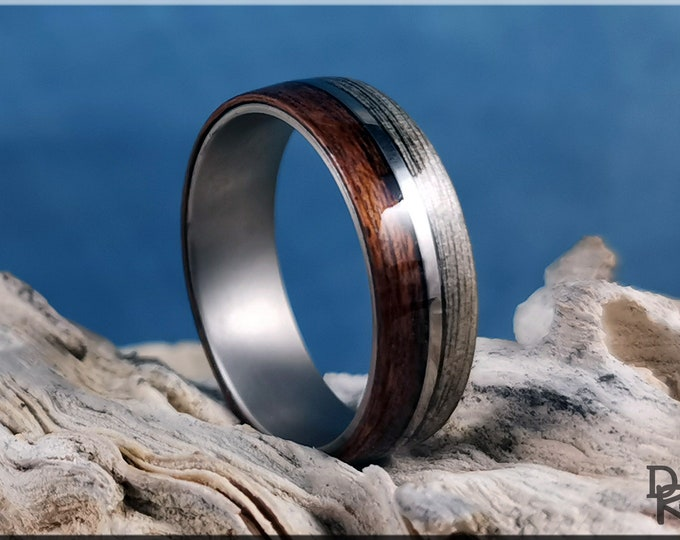 Dual Bentwood Ring - Harborica and Teak, on 7mm titanium T-Core - Wood Ring