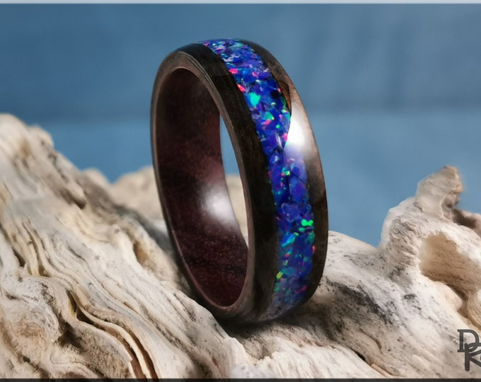 Bentwood Ring - Smoked Eucalyptus w/Starry Night Opal inlay, on Purpleheart ring core