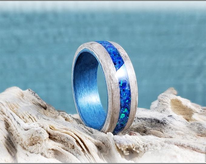 Dual Bentwood Ring - Pewter Birdseye Maple w/Royal Blue Opal inlay on bentwood Denim Blue Tulipwood ring core