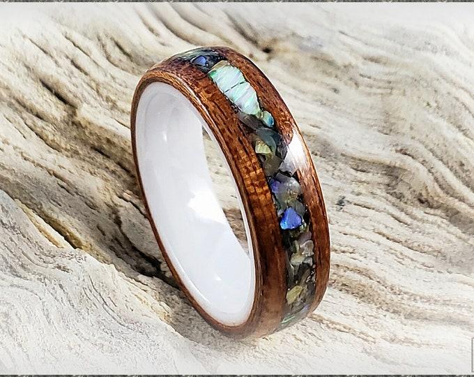 Bentwood Ring - Bubinga w/Abalone Shell and White chunk opal inlay, on polished white ceramic ring core