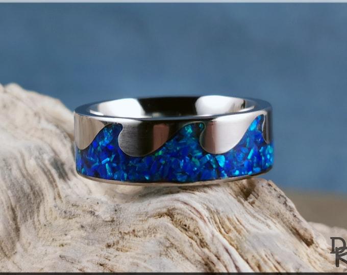 Titanium Wave Pattern Ring w/Opal inlay - metal ring