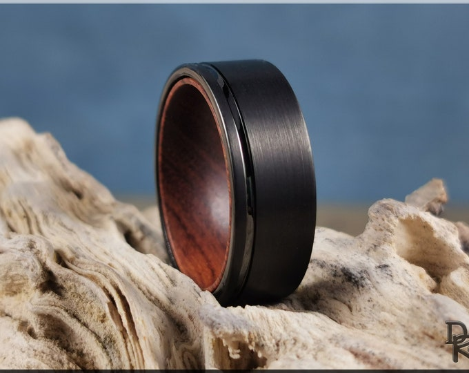 Brushed 8mm Black Tungsten Carbide Ring w/exotic wood inner core - wood and metal ring