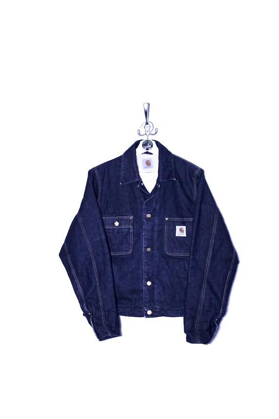 Vintage 90's Carhartt Denim Trucker Jacket Fleece