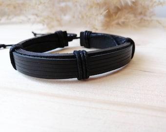 8d8b2824122aa5 Black leather Cuff Bracelet