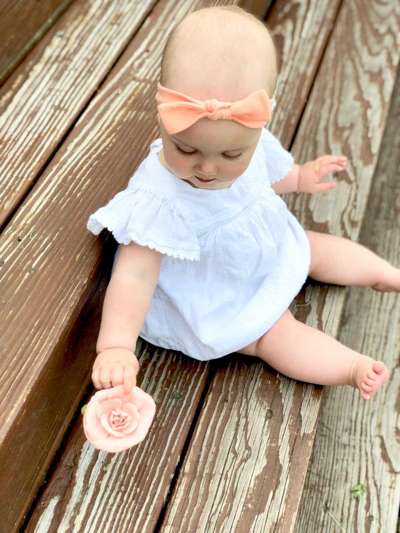 Baby Bow Peach Baby Square Knot Headband