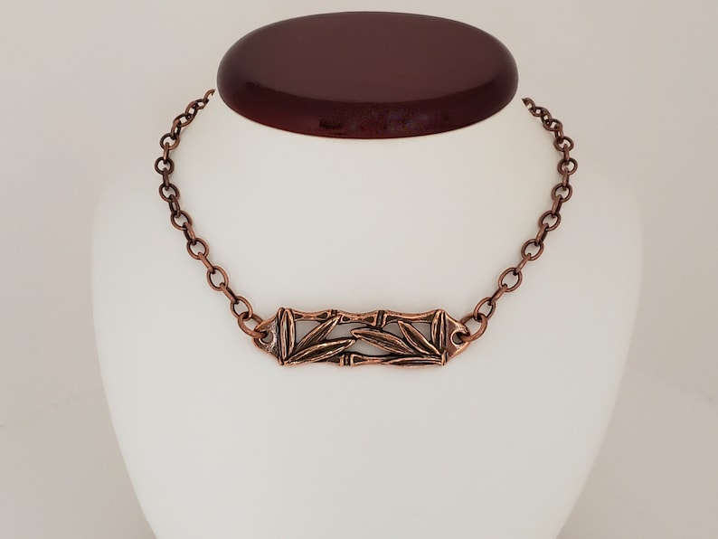 Antiqued Copper Plate Brass Cable Chain Bamboo Leaves Necklace w Toggle Clasp Lead Free Pewter with Antiqued Copper Plate Made in USA