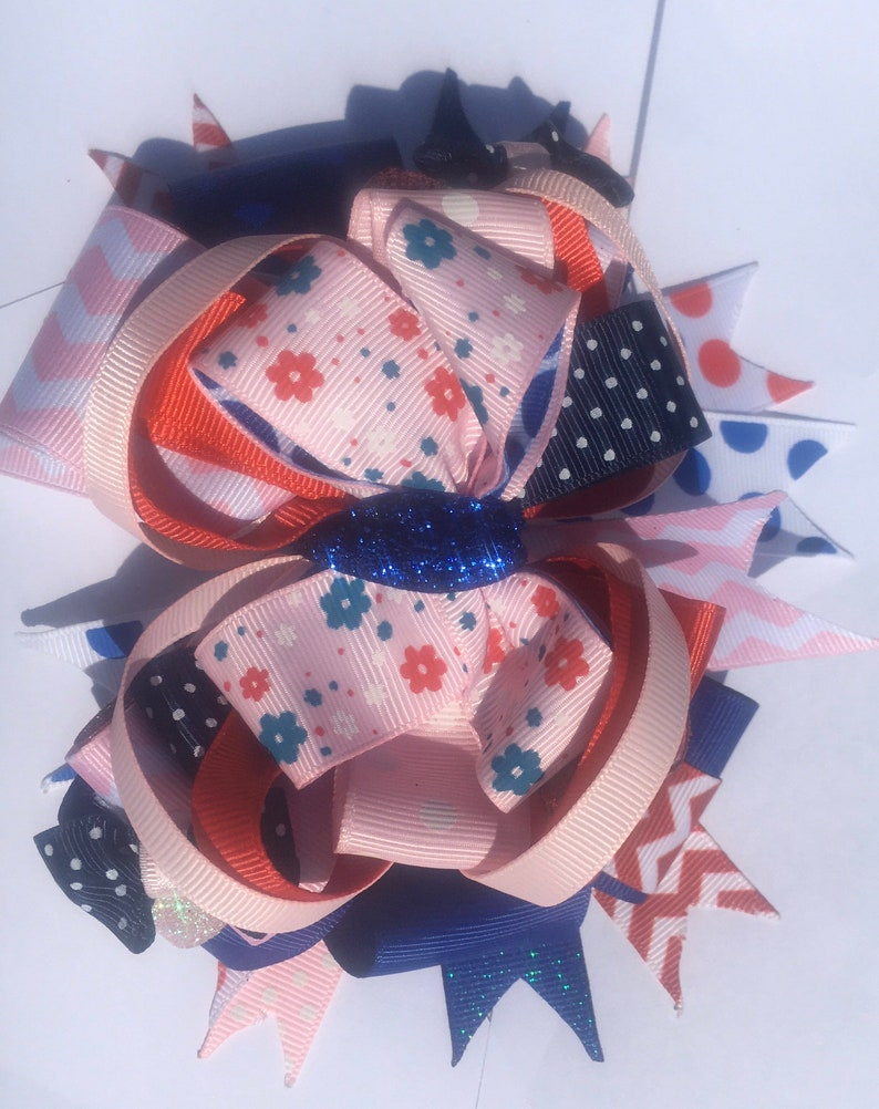 Pink Blue and Red OTT hair bow
