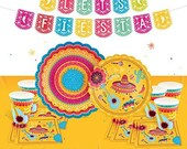 Fiesta Party Decorations Mexican Party Supplies set, Large Dinner plates, Small Dinner Plates, Cups, Napkins, Jumbo tablecloth,
