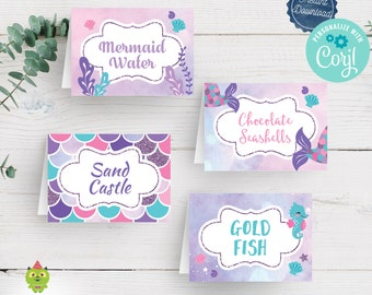 Editable Mermaid Party Food Tents/Signs/Labels Ideal For Mermaid Birthday or Baby Shower