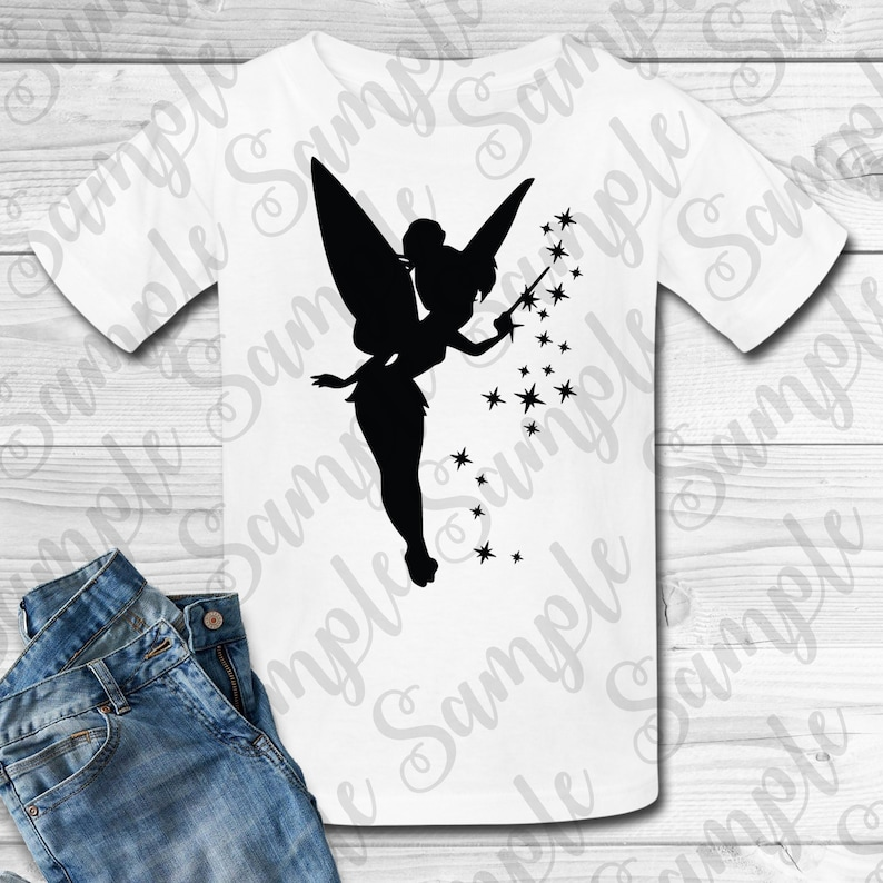image relating to Tinkerbell Silhouette Printable referred to as Disney Tinkerbell Silhouette SVG Tailor made electronic down load Matching Family members Trip blouse Iron upon move Printable Birthday Princess blouse