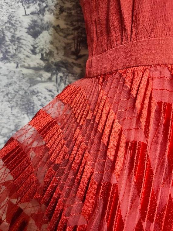 Vintage pleated midi dress, rust coloured organza