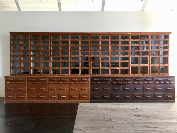 Monumental Antique Apothecary Hardware Store Cabinet