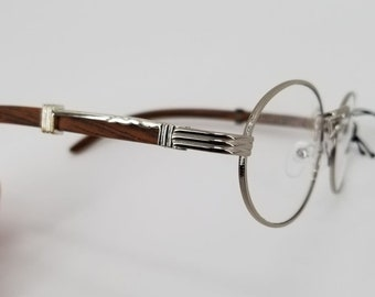 ce23db2c9e Vintage en bois argent cadre ovale verres w/lentille claire-Retro bois Mens  Womens lunettes de soleil Quavo Migos rond hip hop unisexe Cartier métal