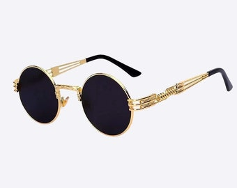aae652de2b Vintage Gold Frame Round Sunglasses with Black Lens - Retro Hip Hop Mens  Womens Glasses Quavo Clear Migos Oval Hip Hop Unisex Coloured Metal