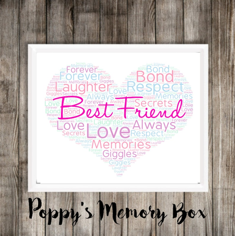 picture relating to Printable Word Art identified as Least complicated Good friend Term Artwork, Electronic BFF Print, Printable phrase artwork, Most straightforward Good friend Birthday Poster, Bestie Wall Artwork Reward
