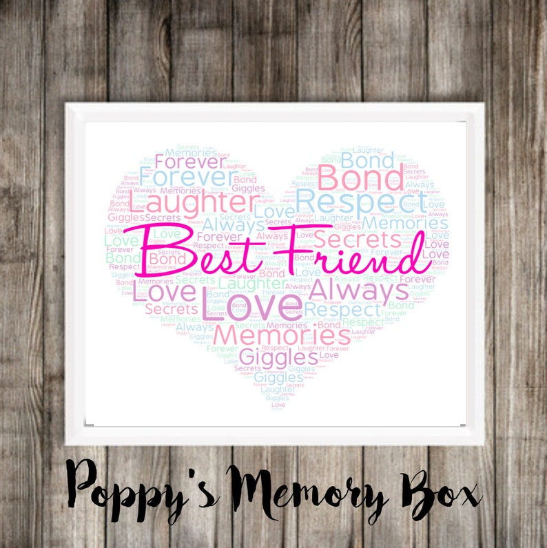photo about Printable Word Art identify Great Buddy Phrase Artwork, Electronic BFF Print, Printable phrase artwork, Easiest Good friend Birthday Poster, Bestie Wall Artwork Present